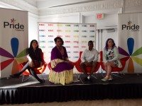 Panellists Danielle Araya, Teddy Syrette, Jae Delacruz, and Stef Sanjati. Photo courtesy of Pride Toronto.