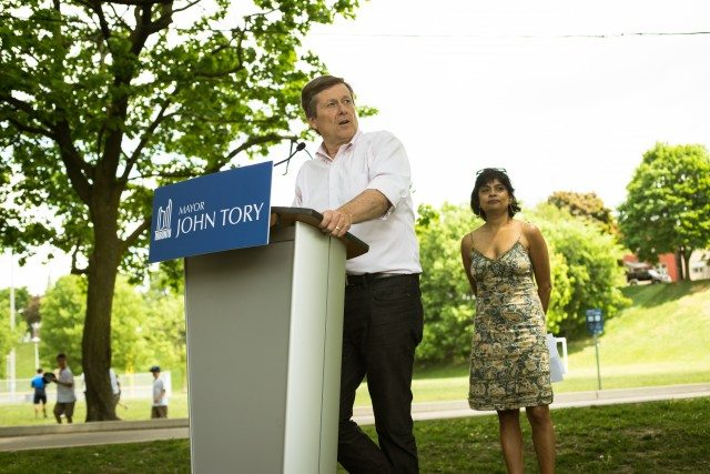 Nova Bhattacharya, President of Toronto Arts Council Board of Directors with Mayor Tory at Arts in the Parks launch in Christie Pits Park May 30.