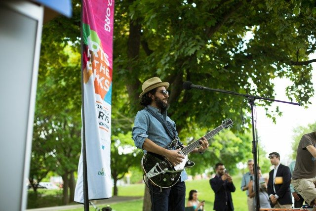 Juno award winner Quique Escamilla will be among the performers in Arts in the Parks. He gave a preview at the launch.