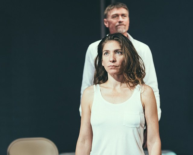 Diane Flacks as Deb with Geordie Johnson as Phillip in Body Politic. Photo by Jeremy Mimnagh.