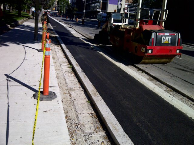 Sherbourne cycle track construction, photo courtesy of the City of Toronto.