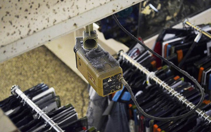 Dust bunnies collect on top of an old security camera on the second floor of Honest Ed's east side store in Toronto on March 12, 2016.