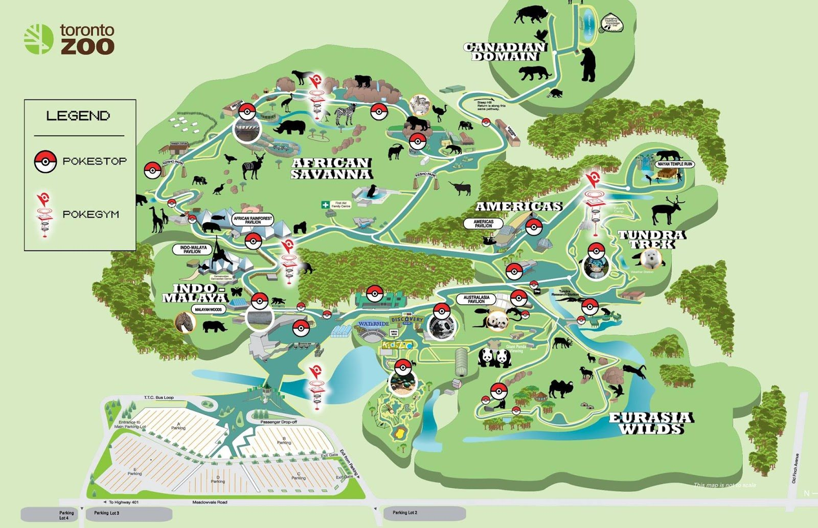 There are more than 30 Pokéstops and Gyms combined on the Zoo's grounds.