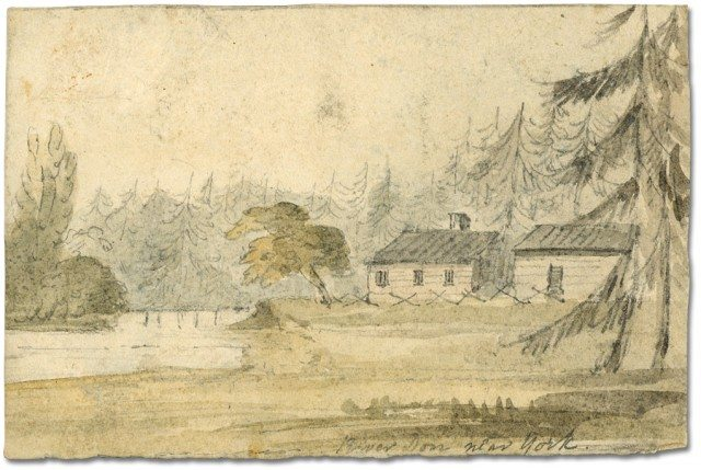 Painting of the Don River near John Scadding's cabin, Elizabeth Simcoe, 1793. Archives of Ontario.