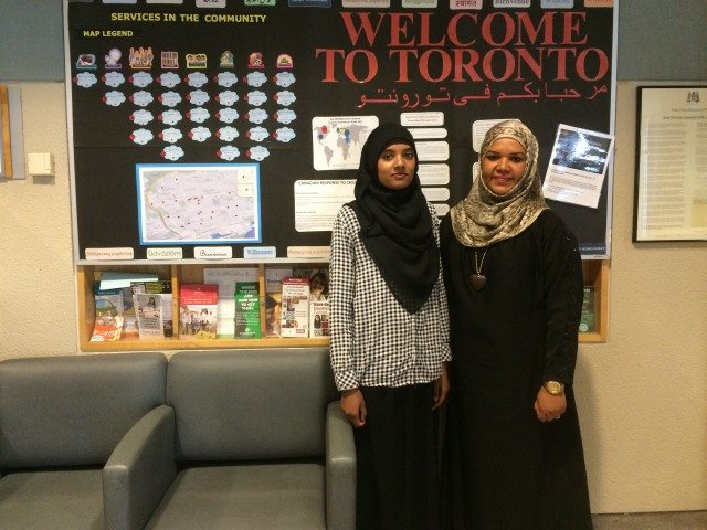 Fatima Khan (left) and Salha Al - Shuwehdy (right) at the South Riverdale Community Health Centre, photo by Samira Mohyeddin