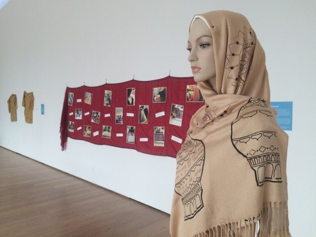 One of the silk screened hijabs on display at Gardiner Museum's Exhibition Hall