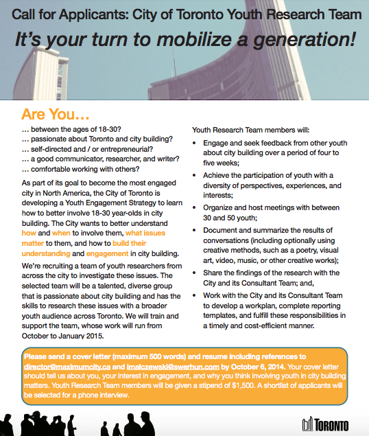 A recruitment poster from Youth Engagement Strategy