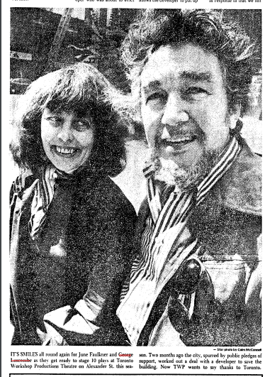 George Luscombe and general manager June Faulkner after the Workshop Productions theatre was saved by the city after public support. Photo from the Toronto Star August 24, 1977.