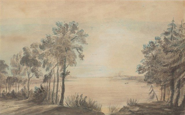 York Harbour, looking west from the mouth of the Don River, by Elizabeth Simcoe, 1793. Toronto Public Library.
