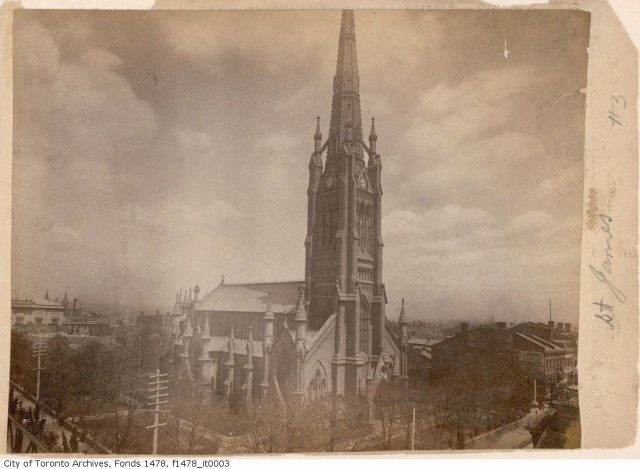 St. James Cathedral circa 1885-1895, while Rev. Henry Scadding worked there. Photo from the Toronto Archives, Fonds 1478, Item 3.