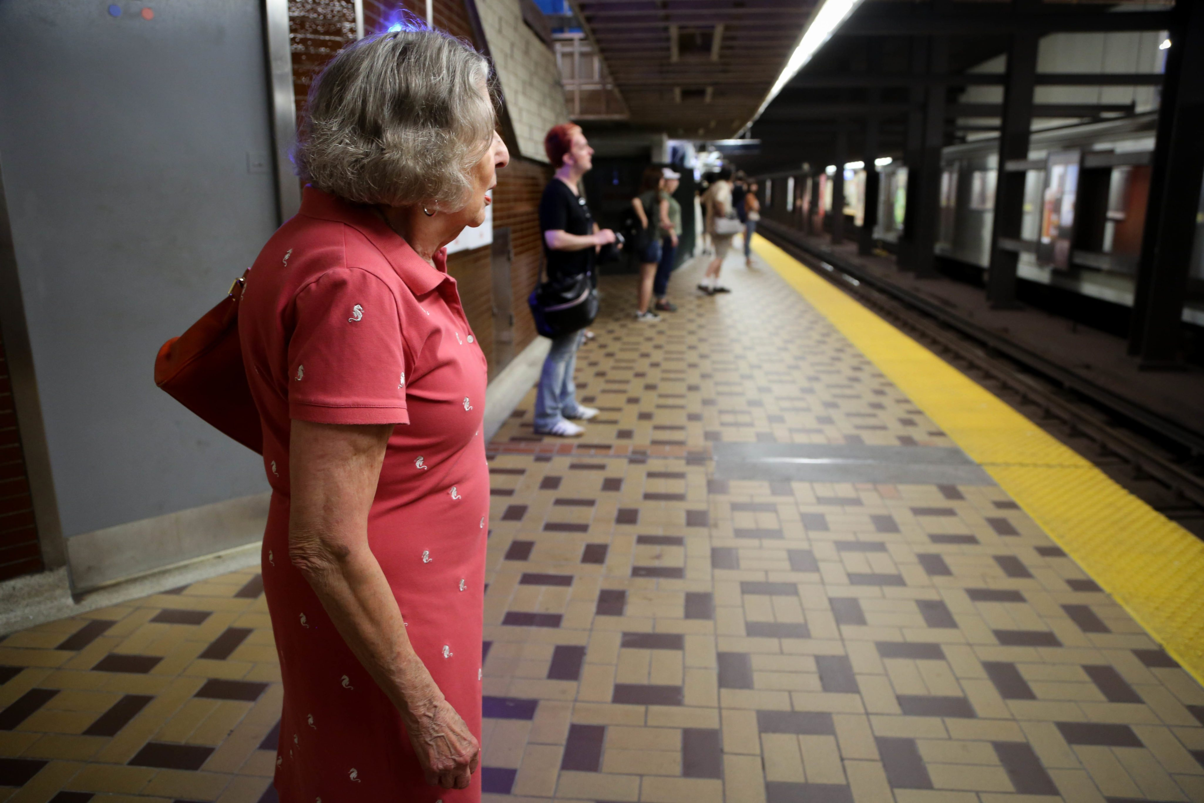 Goldfarb waits for the train at St. Clair West Station.