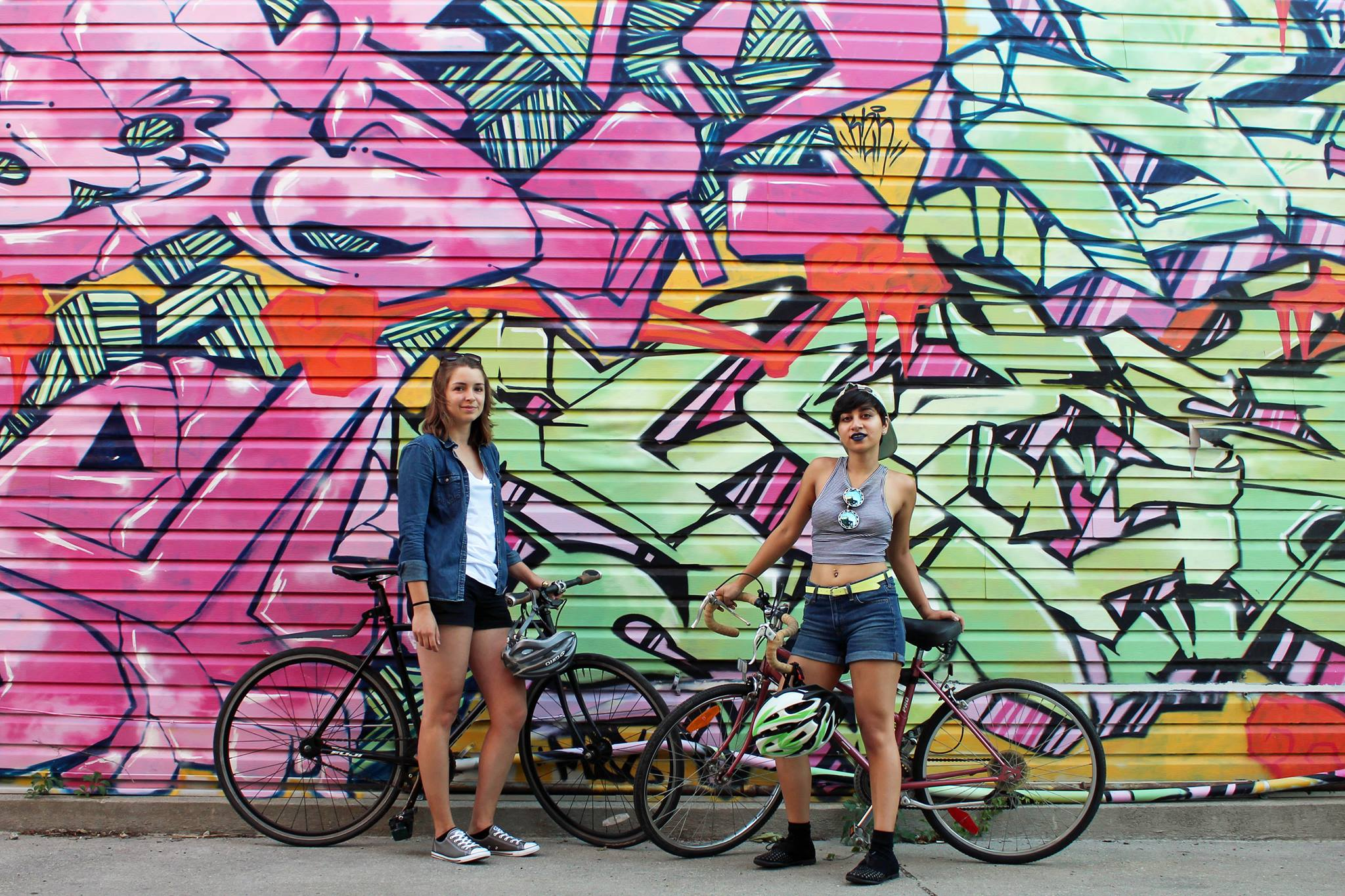 Claire McFarlane and Lavinia Tanzim of the Bad Girls Bike Club. Photo courtesy of Facebook.