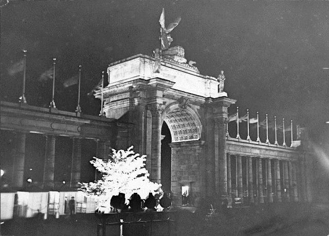 The Princes' Gates, illuminates at night, ca. 1927.  City of Toronto Archives, 	Fonds 1244, Item 2021.