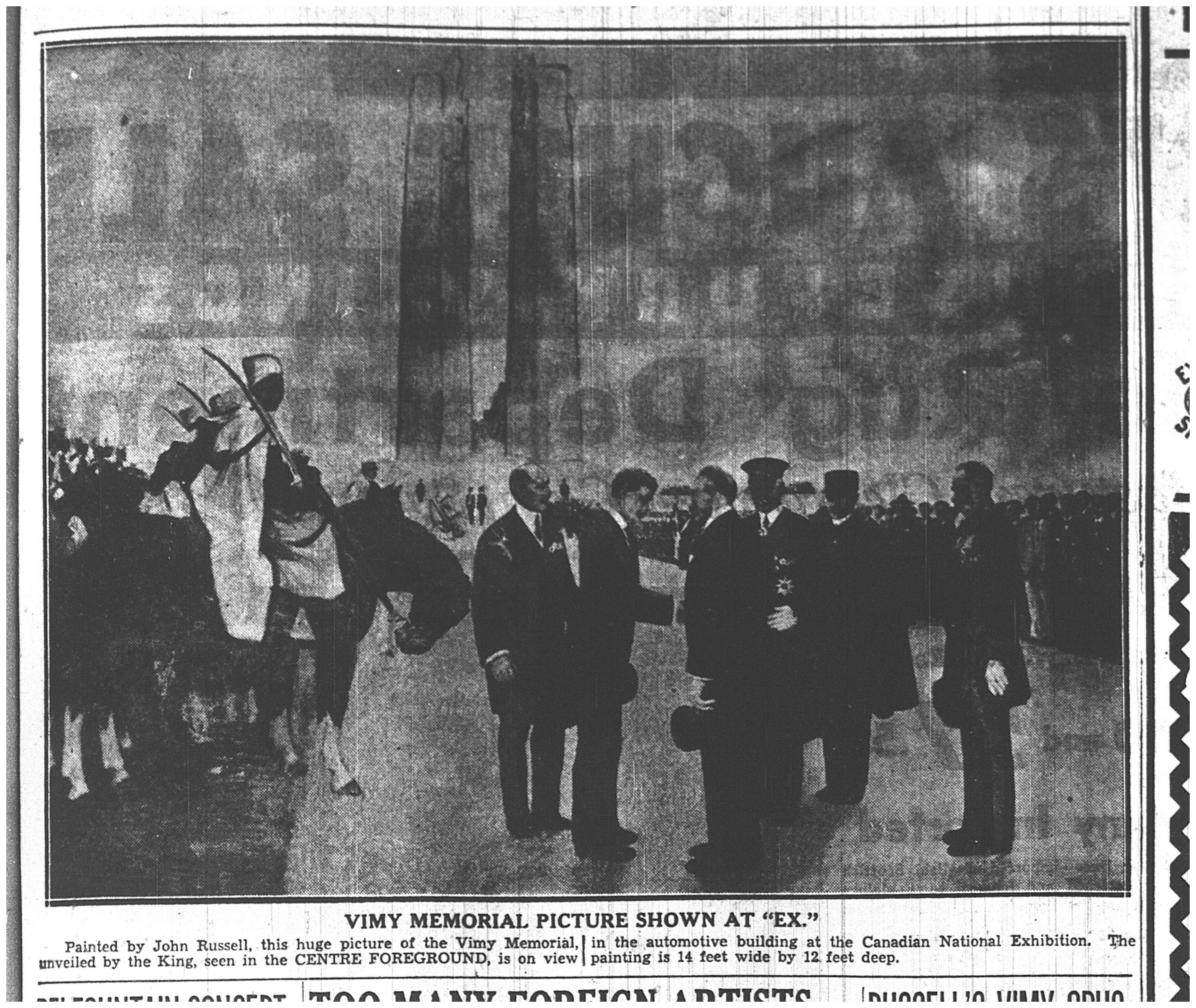 John Russell's work commemorating the Vimy Memorial.  The Toronto Star, August 29, 1936.