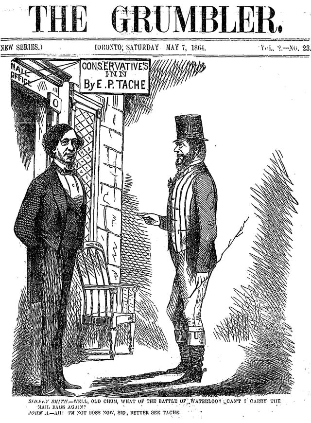 An early satirical look at John A.Macdonald, the Grumbler, May 7, 1864.
