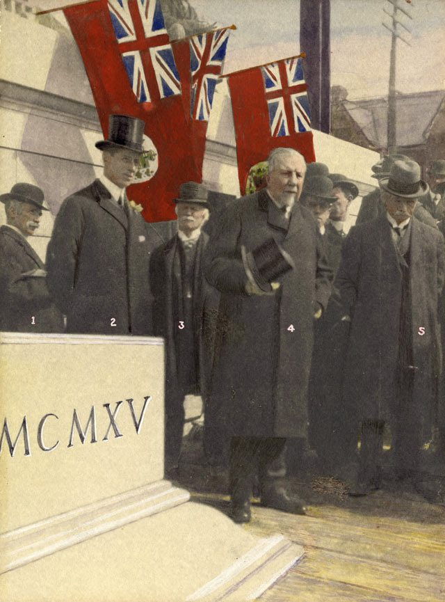 Laying of the cornerstone of the registry office on Albert Street by Tommy Church (left) and John Ross Robertson (centre), 1915. Toronto Public Library.