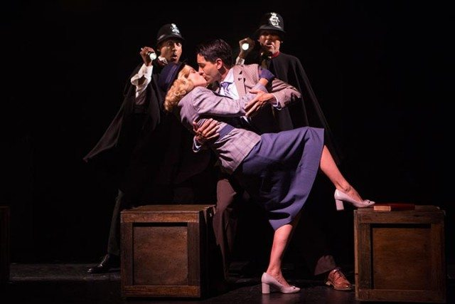 The cast of Soulpepper's production of The 39 Steps. Photo by Cylla von Tiedemann.