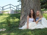 Kaitlyn Riordan and Vivien Endicott-Douglas play the title roles in Romeo And Juliet  in Withrow Park. Photo by Eva Barrie.
