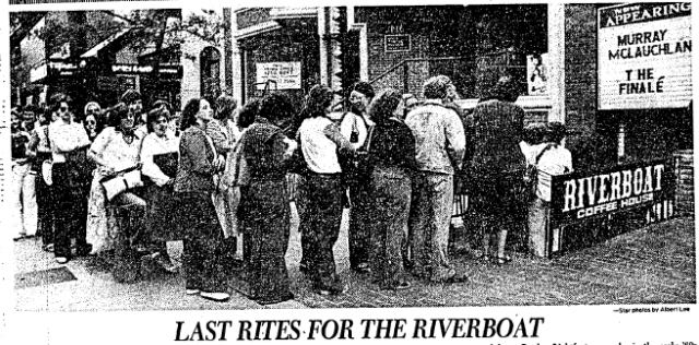 The Star's Entertainment section on June 26, 1978, the day after the final concert at the Riverboat coffee house shows the line to get in for Murray McLauchlin's last show there.