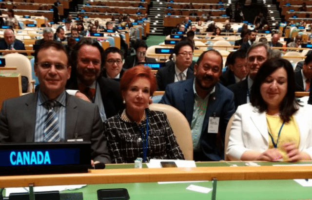 Nicole Eaton (front, centre) represents the senate at the United Nations in 2015. (Via Twitter.