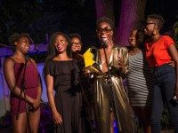 d'bi.young anitafrika accepts the Now Magazine Audience Choice award for Bleeders. Photo by Dahlia Katz/SummerWorks.