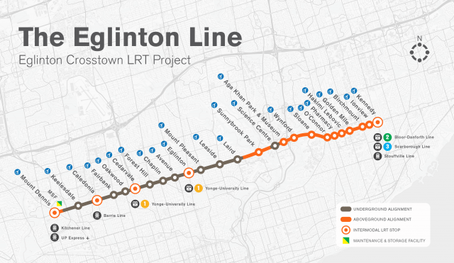The Crosstown LRT is under construction now. Image courtesy Eglinton Crosstown.