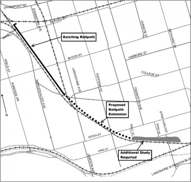 Planned Railpath map, courtesy of City of Toronto