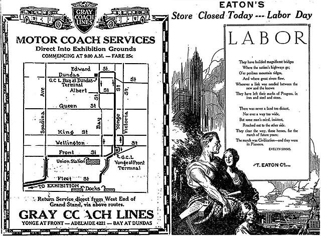 Left: Gray Coach advertisement from the Globe, August 31, 1929. Right: Eaton's advertisement from the Globe, September 2, 1929.