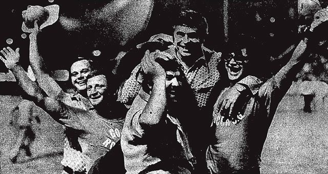 Fans holding coach Artur Rodrigues after the Metros clinched their first-ever playoff spot. Toronto Star, August 11, 1973.