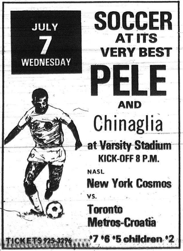 From the Toronto Sun, July 7, 1976. This game marked Chinaglia's debut with the Cosmos. Alas, Pele sat out due to a groin injury.