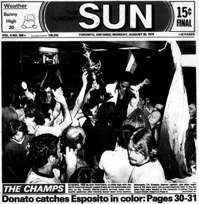 Front page, Toronto Sun, August 30, 1976.