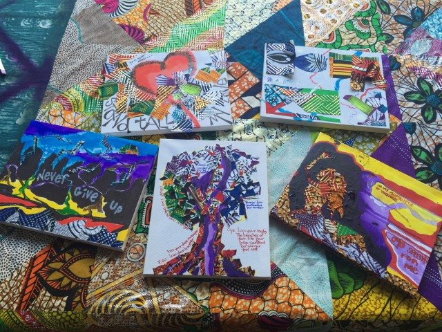 Collage paintings from a workshop led by Apanaki Temitayo Minerve, a textile artist in Toronto. Photo by Beatrice Paez.