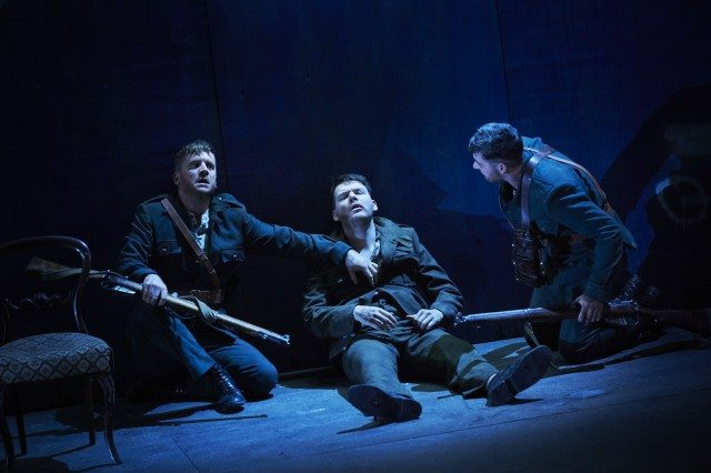 Left to right, Ian-Lloyd Anderson, Lloyd Cooney, and Liam Heslin in a scene from The Plough and The Stars. Photo by Ros Kavanaugh.