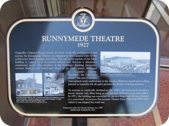 The Heritage Toronto plaque at the former Runnymede Theatre. Photo by Alan L. Brown, torontoplaques.com.