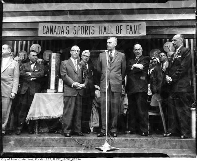Murray's friend Prime Minister John Diefenbaker at Visitor's Day at the Sports Hall of Fame in 1959. Photo from the Toronto Archives, Fonds 1257, Series 1057, Item 5694.