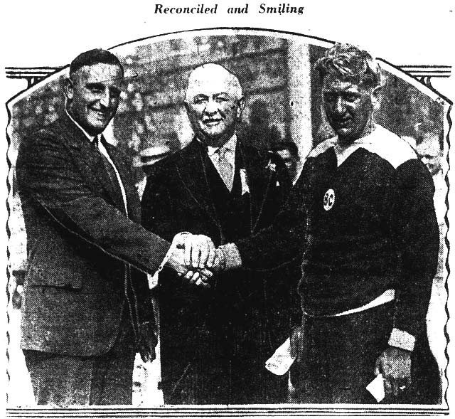 Ernst Vierkoetter (left) and Eddie Keating (right) settle their differences with the help of Mayor Samuel McBride. The Mail and Empire, September 2, 1929.