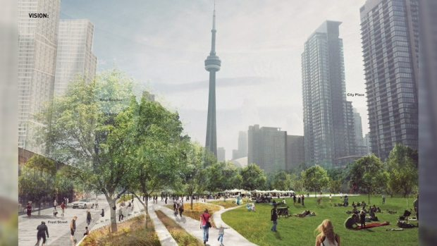 Rendering of the potential Rail Deck Park.