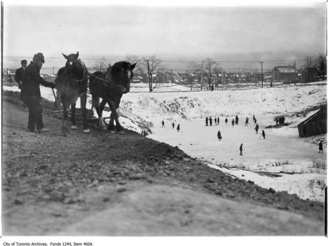 Skaters and workmen at Christie Pits, not far from the Murray family home, circa 1909. Photo from the Toronto Archives, Fonds 1244, Item 460A.