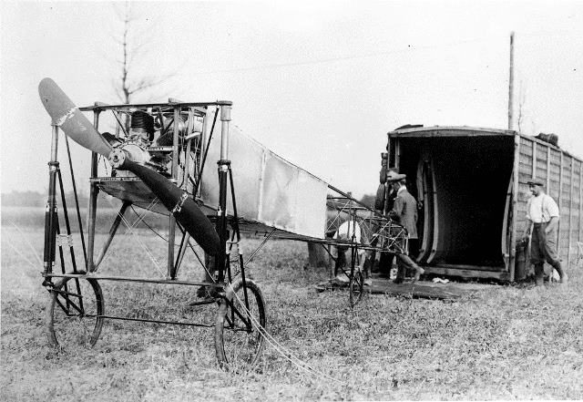 Jacques de Lesseps' plane, the Scarabée, at the Trethewey farm.  City of Toronto Archives, Fonds 1244, Item 77.