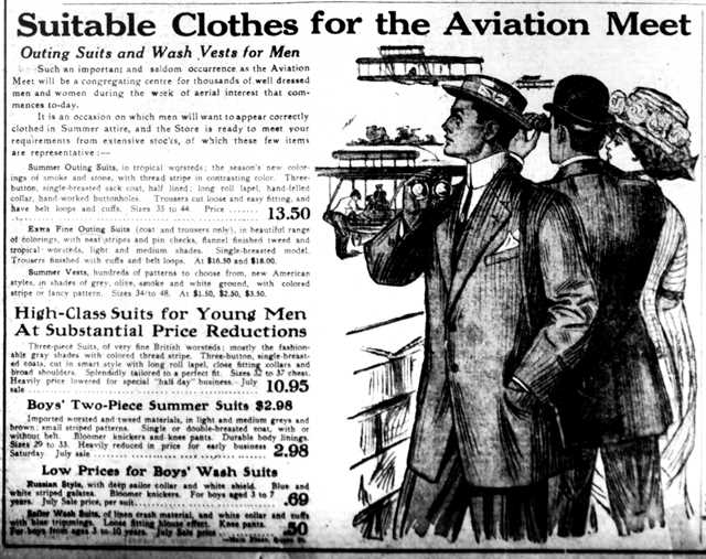 You definitely can't attend an aviation meet without suitable clothes.  The Toronto Telegram, July 8, 1910.