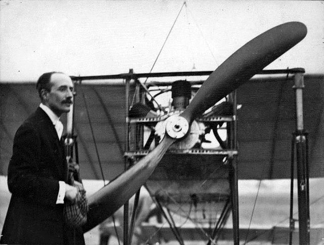 Count Jacques de Lesseps with his Blériot monoplane at the Trethewey farm, July 1910.  City of Toronto Archives, Fonds 1244, Item 74.