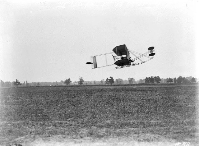 Ralph Johnstone in his Wright biplane at the 1910 Toronto aviation meet.  City of Toronto Archives, Fonds 1244, Item 88.