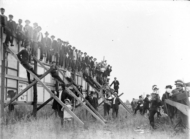 Spectators trying to get a better view at the 1910 aviation meet.  City of Toronto Archives, Fonds 1244, Item 67A.