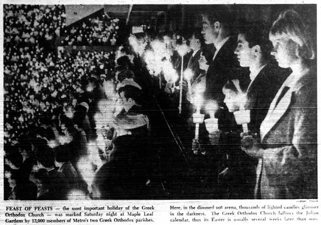 Orthodox Easter at Maple Leaf Gardens.  The Toronto Star, May 4, 1964.