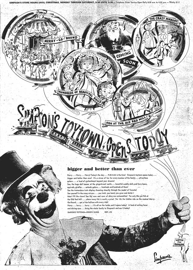 Advertisement featuring Fifi the Clown, Globe and Mail, November 10, 1949.