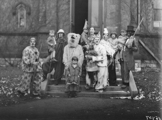 How's this for nightmare fuel: scary clowns, blackface, and a man in a bear suit. Toronto Regiment Xmas tea, group of clowns, December 22, 1928. City of Toronto Archives, Globe and Mail fonds, Fonds 1266, Item 15407.