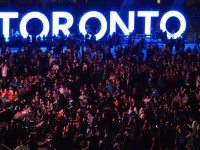 Fans watched the Toronto Blue Jays take on the Baltimore Orioles in Nathan Phillips Square on Tuesday night. Photo by Greg's Southern Ontario from the Torontoist Flickr Pool.
