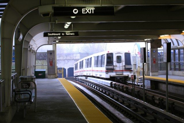 Ellesmere station on the Scarborough Rapid Transit line. Photo by Danielle Scott from the Torontoist Flickr Pool.