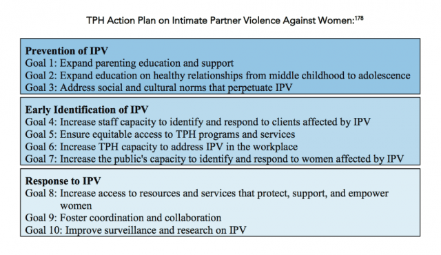 The City's plan to combat intimate partner violence has 10 goals. Photo courtesy of the Vital Signs report.