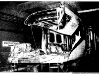 The train that rear ended another subway train, after the two were separated by TTC workers. Photo from the Toronto Star, August 14, 1995.
